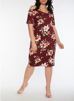 Plus Size Off the Shoulder Soft Knit Floral Dress - 3390058930129