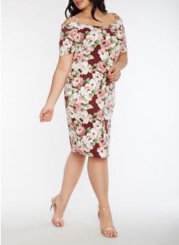 Plus Size Off the Shoulder Soft Knit Floral Dress - 3390058930130