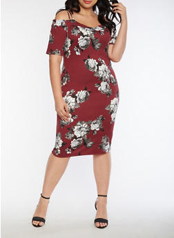Plus Size Off the Shoulder Soft Knit Floral Dress - 3390058930131