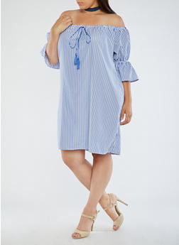 Plus Size Off the Shoulder Striped Dress - 3390058930136