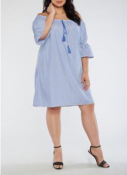 Plus Size Off the Shoulder Striped Peasant Dress - 3390058930137