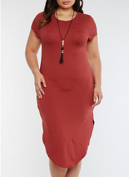 Plus Size Rounded Hem T Shirt Dress with Necklace - BURGUNDY - 3390058930140
