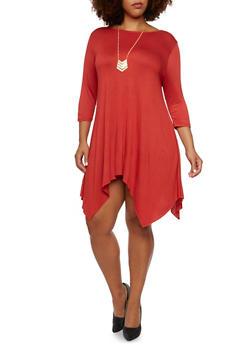 Plus Size Jersey Dress with Asymmetrical Hem - 3390058930307