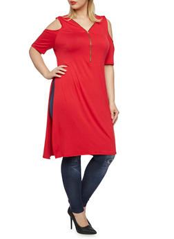 Plus Size Cold Shoulder Tunic Top with Zip Neck - 3390058930408