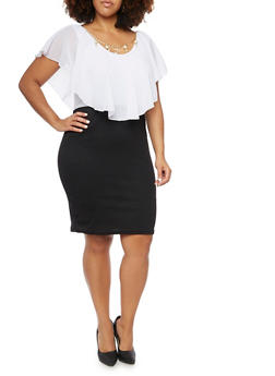 Bodycon Dress with Flutter Paneling and Necklace - 3390058930409