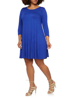 Plus Size Dress with Scoop Back - 3390058930413