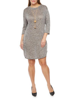 Plus Size Knit Dress with Necklace - 3390058930414