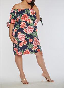 Plus Size Floral Peasant Off the Shoulder Dress - 3390058930463
