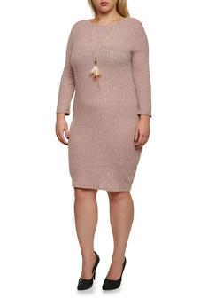 Plus Size Fuzzy Rib Knit Dress with Feather Necklace - 3390058930806