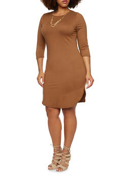 Plus Size Brushed Knit T Shirt Dress with Curb Chain Necklace - 3390058930808