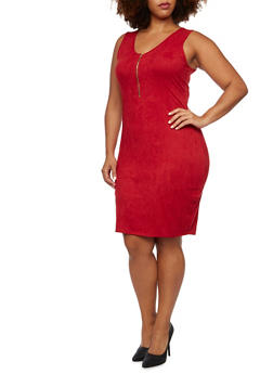 Plus Size Sleeveless Zippered Dress in Faux Suede - BURGUNDY - 3390058930814