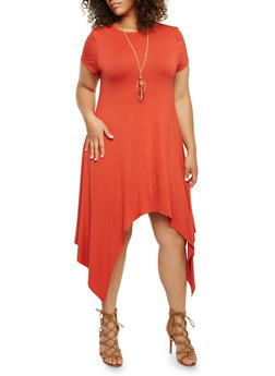 Plus Size Solid Sharkbite Hem Dress with Removable Necklace - 3390058930904