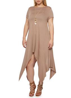 Plus Size Solid Sharkbite Hem Dress with Removable Necklace - 3390058930904