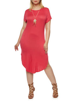 Plus Size Jersey T-Shirt Dress with Necklace - 3390058930906