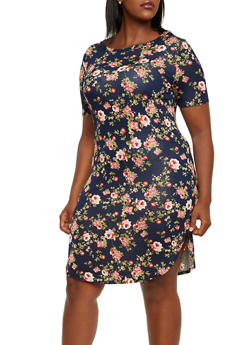 Plus Size T-Shirt Dress in Floral Print - 3390058930907