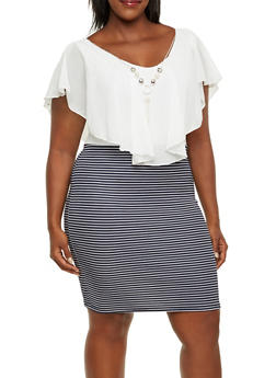 Plus Size Stretch Dress with Chiffon Top and Striped Skirt - 3390058930908