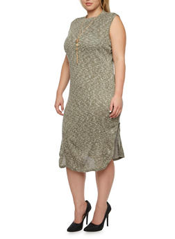 Plus Size Knit Dress with Side Slits and Removable Necklace - 3390058930910