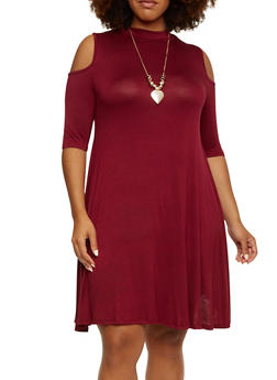 Plus Size Mock Neck Cold Shoulder Top with Necklace - 3390058931248