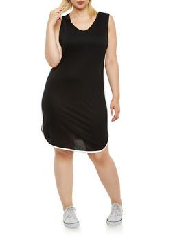 Plus Size Hooded Jersey Dress - 3390058931256