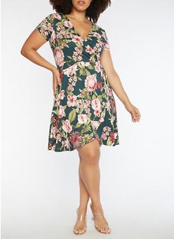 Plus Size Faux Wrap Floral Print Dress - 3390058931819