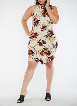 Plus Size Floral Envelope Hem Dress - IVORY - 3390058931999
