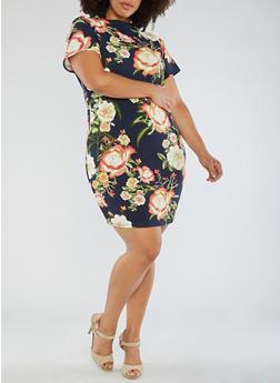 Plus Size Short Sleeve Floral Knit Dress - 3390058932002