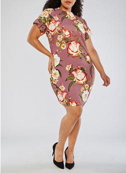 Plus Size Short Sleeve Floral Knit Dress - 3390058932002