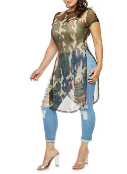 Plus Size Camo Tunic Top - 3390058932810