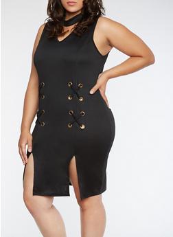 Plus Size Grommet Dress with Front Slits - BLACK - 3390058932928