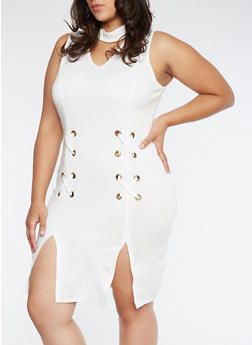 Plus Size Grommet Dress with Front Slits - 3390058932928