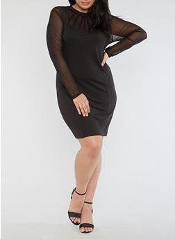 Plus Size Mesh Bodycon Dress - 3390058932932