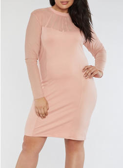 Plus Size Mesh Bodycon Dress - 3390058932932