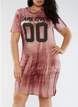 Plus Size Game Over T Shirt Dress - 3390058933122