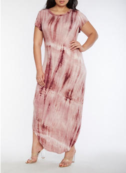 Plus Size Tie Dye Maxi Dress - 3390058933124