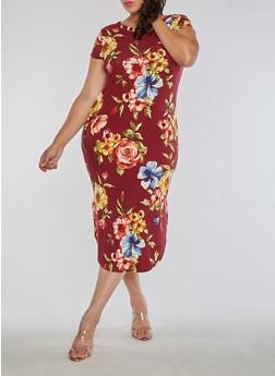 Plus Size Floral T Shirt Dress - 3390058937239