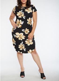 Plus Size Floral T Shirt Dress - 3390058937240