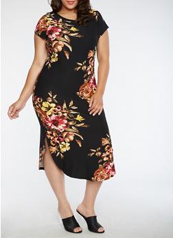 Plus Size Floral T Shirt Dress - 3390058937241