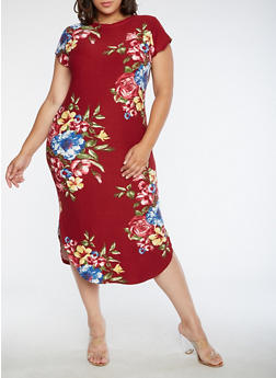 Plus Size Floral T Shirt Dress - 3390058937241