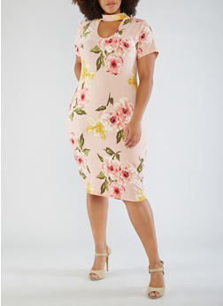 Plus Size Floral Choker Neck Bodycon Dress - 3390058938519