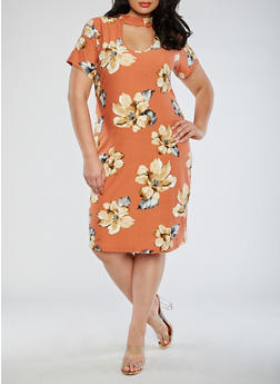 Plus Size Soft Knit Floral Keyhole Dress - 3390058938619
