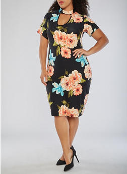 Plus Size Soft Knit Floral Dress - 3390058938719