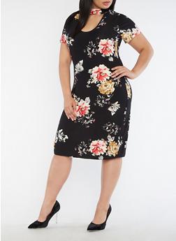 Plus Size Choker Neck Floral Print Midi Dress - 3390058938819