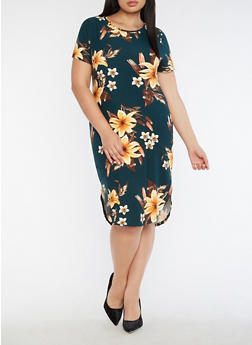 Plus Size Short Sleeve Round Hem Floral Print Dress - 3390058939019
