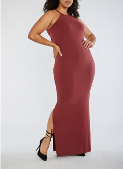 Plus Size Sleeveless Halter Neck Dress - 3390060580100