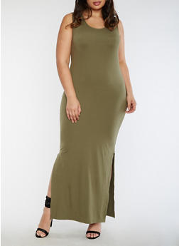 Plus Size Sleeveless Maxi Dress - 3390060580125