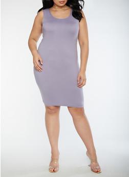 Plus Size Soft Knit Bodycon Dress - LAVENDER - 3390060580250