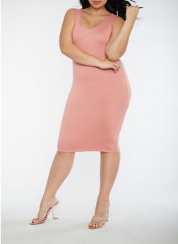 Plus Size Soft Knit Bodycon Dress - PRIMROSE - 3390060580250