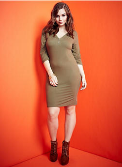 Plus Size Zip Neckline Dress - 3390060581250