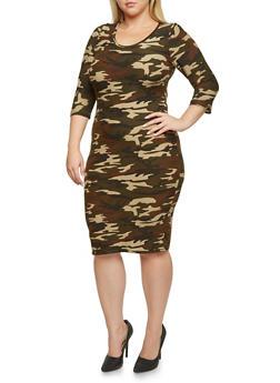 Plus Size Bodycon Dress in Camo Print - 3390060582374