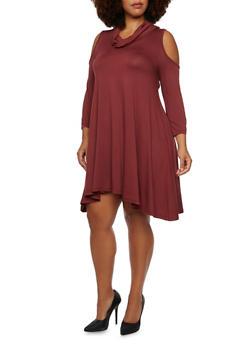 Plus Size Cowl Neck Cold Shoulder Swing Dress - 3390060582411